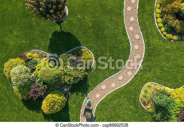 Mature Backyard Garden with Large Grass Lawn Aerial Vista - csp86692538