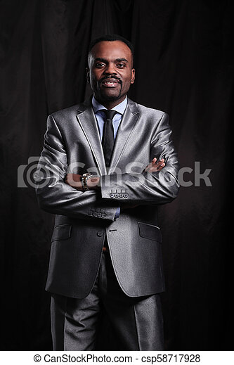 1a783bf7d07 Mature black businessman wearing suit and tie. Handsome african ...