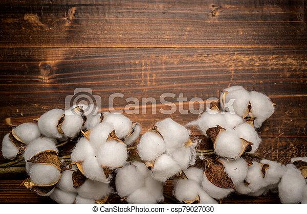 Mature cotton bowls on a wooden background - csp79027030