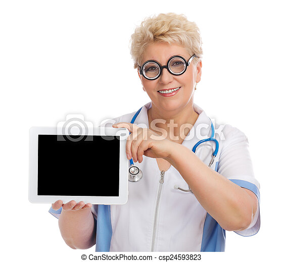 Mature doctor with tablet PC - csp24593823