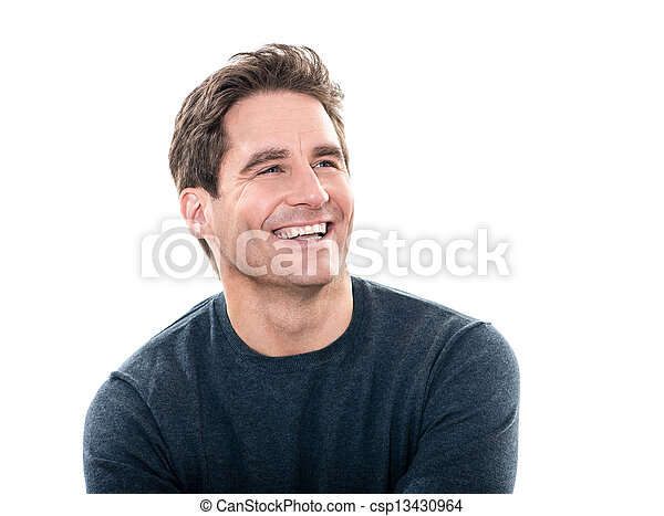 mature handsome man laughing portrait  - csp13430964