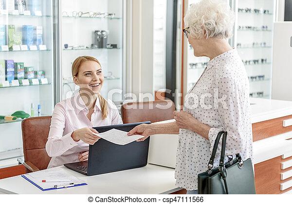 Mature women office secretary attentively