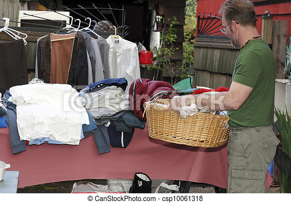 Mature Man at a Garage Sale - csp10061318