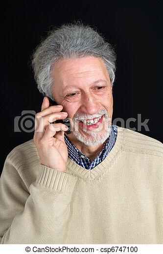 mature man talking on his mobile phone  - csp6747100