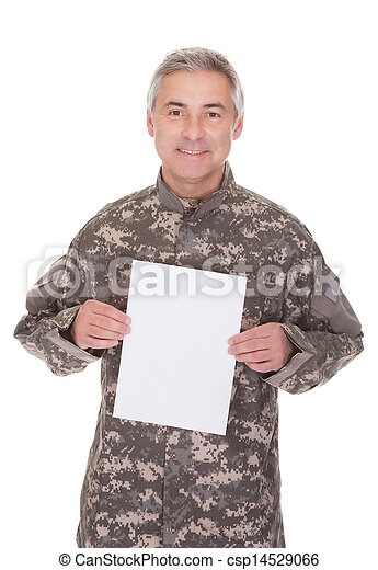 Mature Soldier Holding Blank Paper - csp14529066