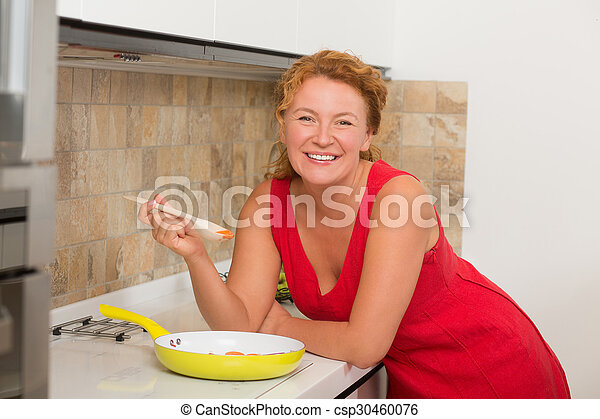 Mature woman tasting - csp30460076