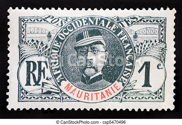 MAURITANIA - CIRCA 1937 - Postage stamp commemorating the anniversary of the death of General Faidherbe, a famous military and political leader - csp5470496