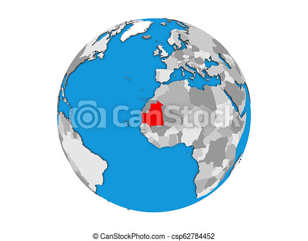 Mauritania on 3D globe isolated - csp62784452