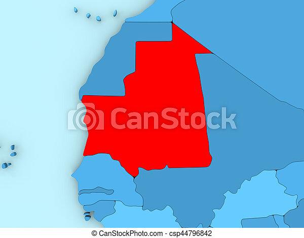 Mauritania on 3D map - csp44796842