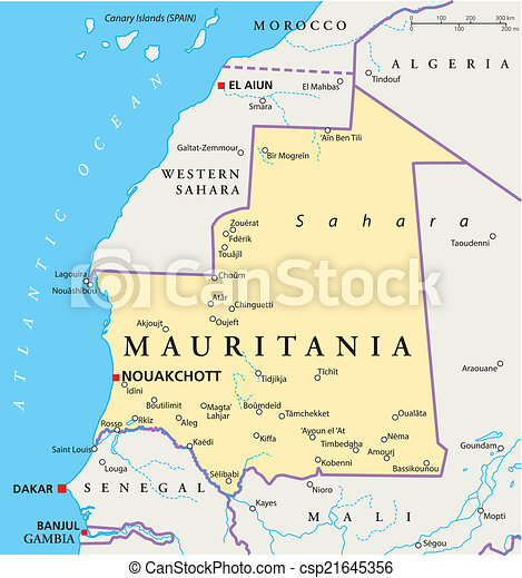 Mauritania political map with capital nouakchott national