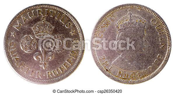 mauritius, gammal, mynt, sällsynt - csp26350420