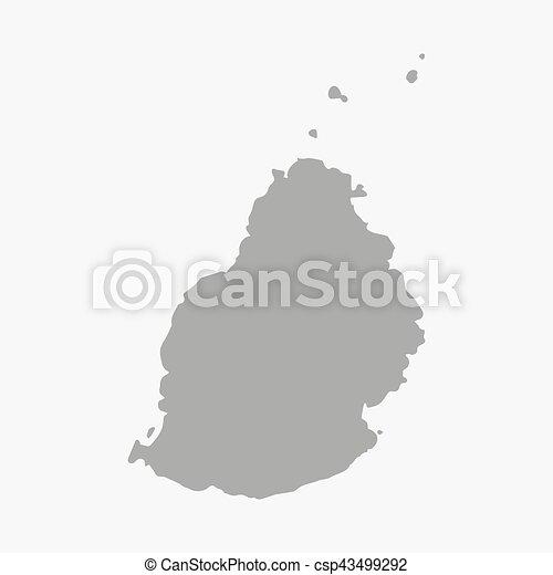 Mauritius Mappa Sfondo Bianco Grigio