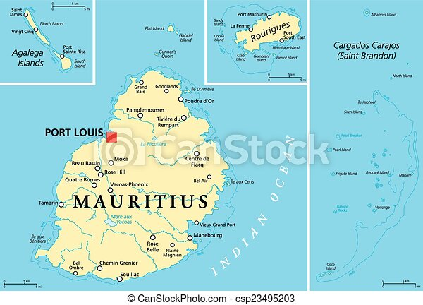 Vector Clipart Of Mauritius Political Map With Capital Port Louis - Political map of mauritius