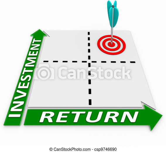 maximiser, retour, matrice, ton, flèche, investissement - csp9746690