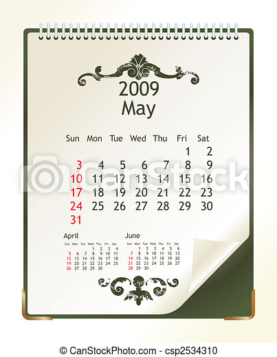 May 2009 2009 Calendar With A Blanknote Paper Vector Illustration