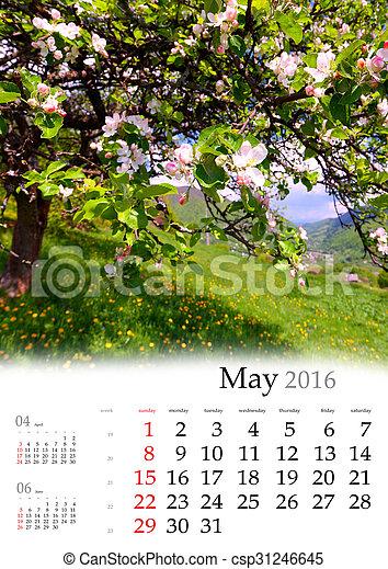 may., calendrier, 2016. - csp31246645