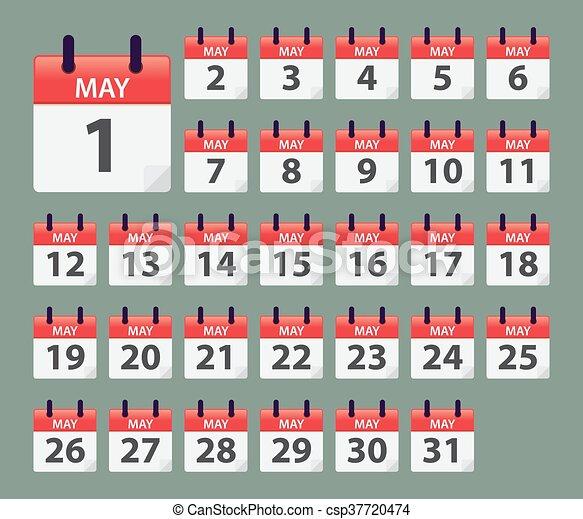 May Daily Calendar Template Vector Stock Of May Daily Calendar