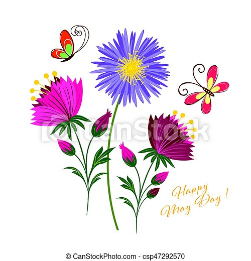 may day colorful flower and butterfly background rh canstockphoto com may day 2017 clipart may day flower clipart