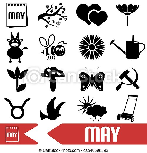 may month theme set of simple icons eps10 - csp46598593