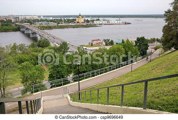 May view of bridge Kanavino and Cathedral Nevsky at Strelka - csp9696649