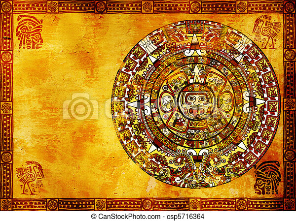 Maya calendar on ancient wall. horizontal background.