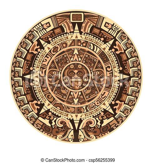 Calendrier Maya Dessin.Maya Hieroglyphe Maya Azteque Symboles Vecteur Signes Calendrier Ou