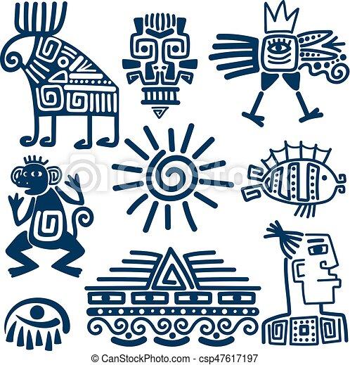 Maya Or Inca Blue Totem Icons Maya Or Inca Style Blue Linear Totem