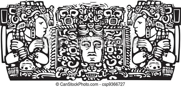 Maya Triptych Woodblock A Woodblock Style Mayan Triptych