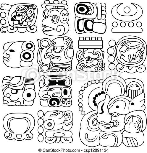 mayan, 象形文字 - csp12891134