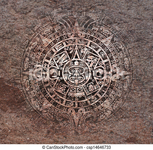 Background In American Indian Style With Mayan Calendar On Old Stone