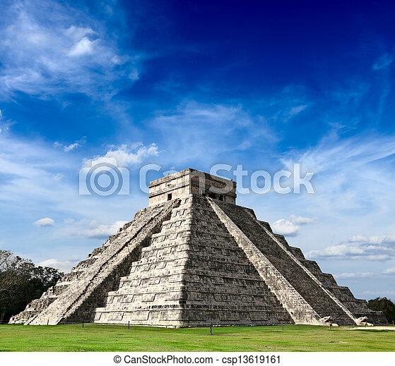 mayan, chichen - itza, ピラミッド, メキシコ\ - csp13619161