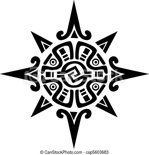 Mayan or incan symbol of a sun or star, isolated on white ...