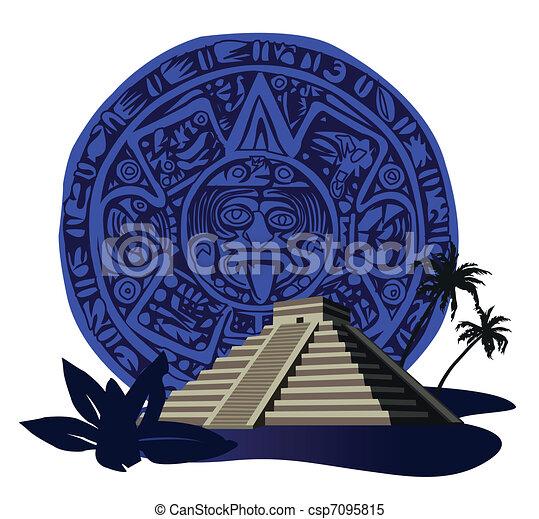 Mayan Pyramid  - csp7095815