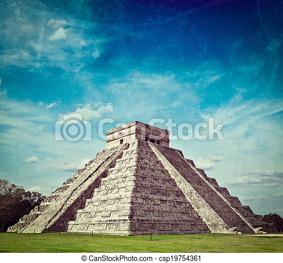Mayan pyramid in Chichen-Itza, Mexico - csp19754361