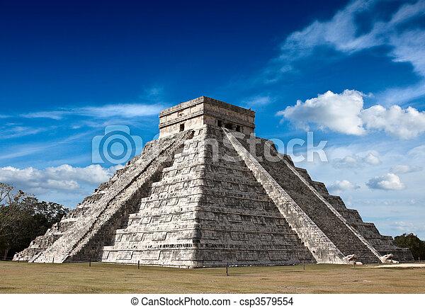 Mayan pyramid in Chichen-Itza, Mexico - csp3579554