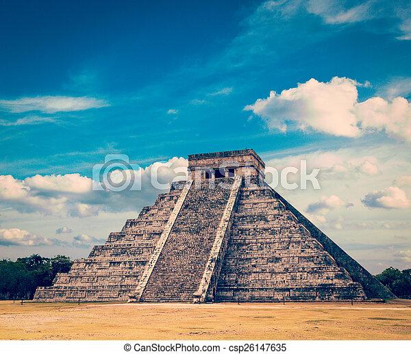 Mayan pyramid in Chichen-Itza, Mexico - csp26147635
