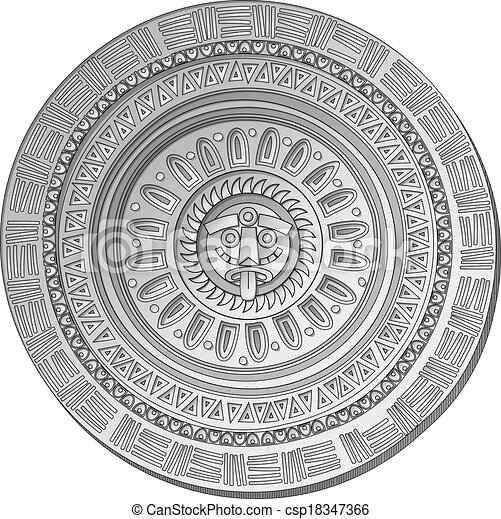 Mayan Sun Stone Symbol Over White Background Clip Art Vector