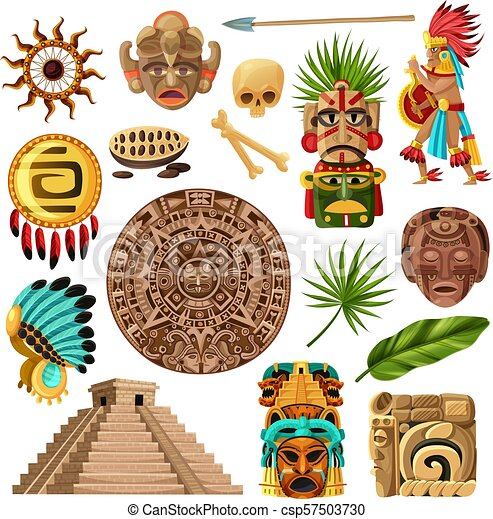 Mayan Traditional Cartoon Set Colorful Mexican Decorative Icons Et