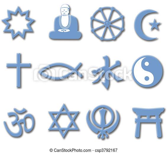 El símbolo de la religión estableció 3D grandes religiones mundiales - csp3792167