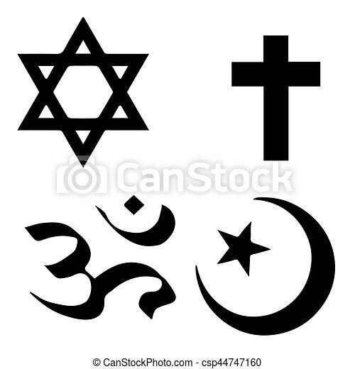 Simbolos religiosos de las mejores creencias organizadas del mundo de acuerdo a las religiones mundiales. Todos los signos importantes en el formato vectorial. - csp44747160