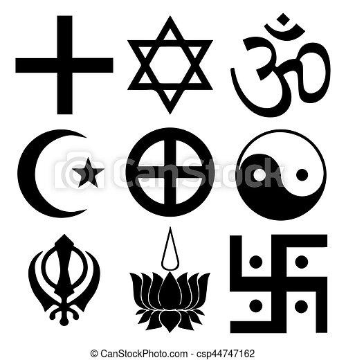 Simbolos religiosos de las mejores creencias organizadas del mundo de acuerdo a las religiones mundiales. Todos los signos importantes en el formato vectorial. - csp44747162