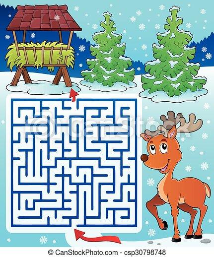 Maze 3 with hay rack and reindeer - csp30798748