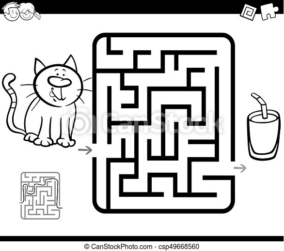 Maze Activity Game With Cat And Milk Black And White