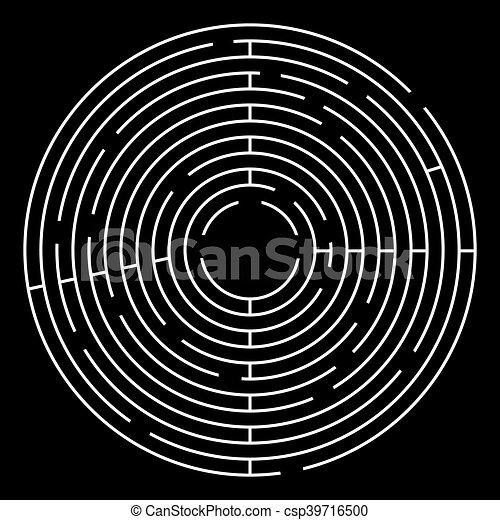 Maze Circle Vector Illustration. White Maze on Black Background. - csp39716500