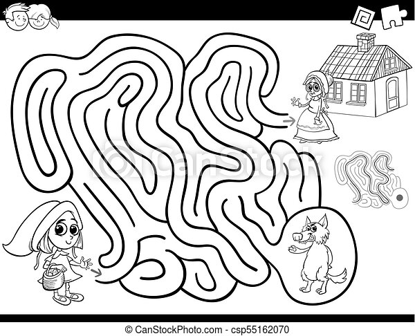 Maze Color Book With Little Red Riding Hood Black And White