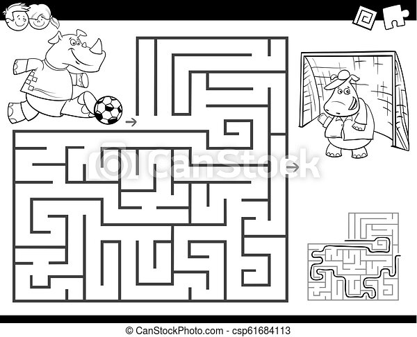 maze color book with rhino playing soccer