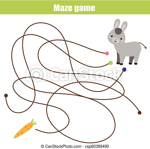Maze Game Animals Theme Help Donkey Find Carrot Activity For