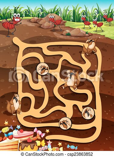 Maze game. Illustration of a maze game with underground life.