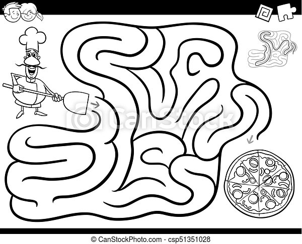 maze game coloring book with chef and pizza