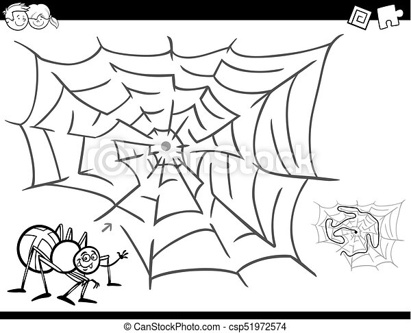 maze game coloring book with spider and web - csp51972574